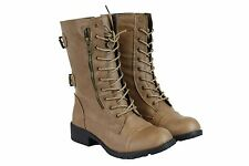 Women's Short Mid Calf Military Style Leather Boots Beige Fashion Cute Sz 7.5