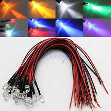 20pcs LED Lamp Light Bulb 20cm Pre Wired 5mm 12V DC 9 Colors
