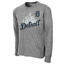 Majestic Threads Detroit Tigers Gray Skyline Long Sleeve T-Shirt
