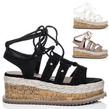 Womens Lace Up Wedge Heel Espadrille Gladiator Sandals Shoes Sz 5-10