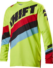 Shift Racing Flo Yellow/Red/Black/Blue White Label Tarmac Dirt Bike Jersey MX