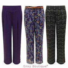 WOMENS LADIES BAGGY FLORAL PRINT WIDE LEG PALAZZO BELTED FLARED TROUSERS PANTS
