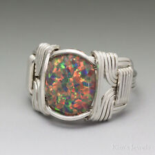 Orange Green Man-Made Fire Opal Sterling Silver Wire Wrap Cabochon Ring