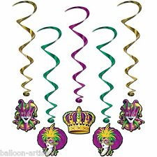 5 x Mardi Gras Hanging Swirl Decorations Court Jester Cutouts Carnival Party