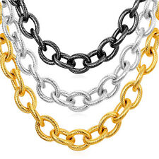 Stainless Steel Men Jewelry 18K Gold Plated Chunky 13MM Rolo Chain Necklaces
