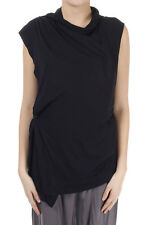 RICK OWENS LILIES Woman New Black Asymmetric Cardigan Sleeveless Made in Italy