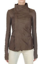 RICK OWENS Women Brown Leather EILEEN Jacket with Buttons New with Tag