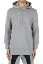 NEIL BARRETT Men Grey Hooded Oversize Bomber Fit Sweatshirt Made in Italy