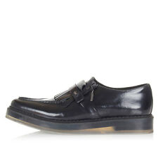 DIESEL Men Black Brushed Leather FRINTIME Shoes with Fringes New with Tag