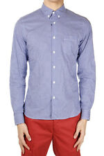 PRADA Men Blue Long Sleeved Cotton Checked Shirt Made in Italy New