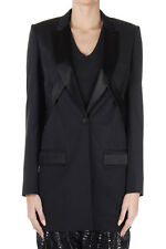 GIVENCHY Women New Black Wool Long Blazer Jacket with Inserts Made in Italy