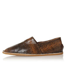DRIES VAN NOTEN Men New Brown Leather Slip On Shoes Loafers Made in Italy