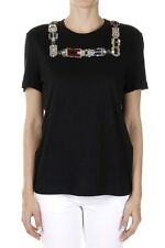ALEXANDER MCQUEEN Women Black Jewel Inserts T-Shirt New with Tag