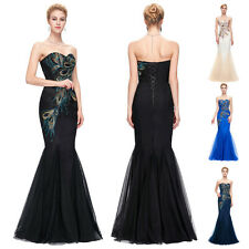 Sexy Peacock Mermaid Evening Wedding Ball Gown Formal Cocktail Party Prom Dress