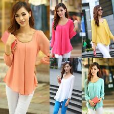 Korean Fashion Women's Loose Chiffon Tops Long Sleeve Shirt Casual Blouse New
