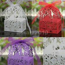 50Pcs Love Heart Favor Ribbon Gift Boxes Candy Box Wedding Party Decor 3 Colors