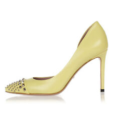 GUCCI Women Yellow Studded Leather Pumps MALAGA KID Made in Italy NEW