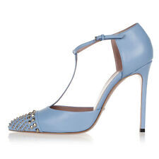 GUCCI Women Blue Studded T-Strap Cap-Toe Pump Shoes MALAGA KID Made in Italy NEW