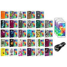 For Samsung Galaxy S5 Hard Design Rubberized Case Cover + LCD Film+Charger