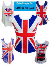 LADIES GIRLS T- SHIRTS VEST SOUVENIR BRITAIN ENGLAND CASUAL UNION JACK LONDON