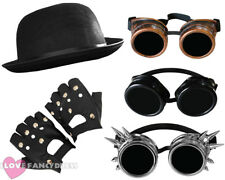 3 PIECE STEAMPUNK FANCY DRESS SET GOGGLES, HAT + GLOVES VICTORIAN SCI-FI COSTUME
