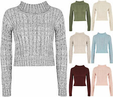 Womens High Polo Neck Chunky Cable Knitted Long Sleeve Crop Pullover Ladies Top