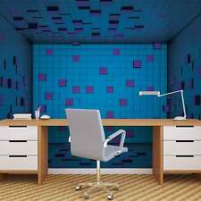 Modern Abstract Squares Blue Purple WALL MURAL PHOTO WALLPAPER (2580DK)