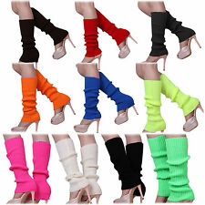 Women Lady Solid Color Knitted Foot less Leg Warmers HY