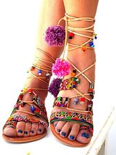 "Boho Sandals, summer shoes, ""ITALIANA"" Handmade Sandals, pom pom sandals, greel"