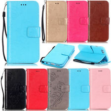 mobile phone case PU leather wallet cover stand flip folios card holder+strap