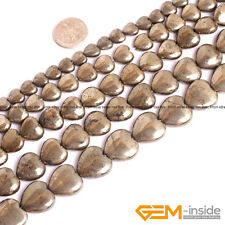 Natural Grey Pyrite Gemstone Heart Love Shape Beads For Jewelry Making 15''