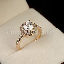 18K Rose Gold GP Swarovski Crystal Elegant Women Jewelry Wedding Party Ring