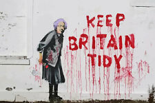 Stretched Keep Britain Tidy Canvas Print by Banksy Graffiti Street Art Assorted