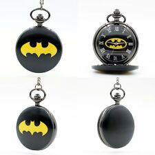 Fashion  Hero Batman Quartz Pocket Watch Black Analog Pendant Necklace Mens Boys