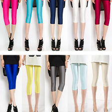 Sexy Women Neon Candy Shiny Bright Fluorescent Stretch Leggings Cropped Trousers