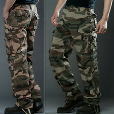 New Mens Casual Military Army Camo Cargo Combat Work Pants Trousers Size 29 30 +