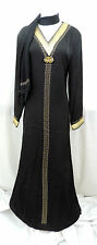 Black Abaya / Jilbab / Kaftan With Matching Hijab for Summer / Party / Eid
