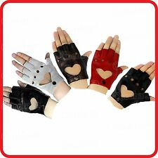 RETRO 80S PUNK GOTHIC HEART FINGERLESS GLOVES-LADY GAGA LOOK -HIPHOP-CYCLE BIKE