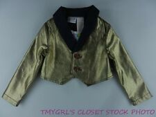 Truly Scrumptious by Heidi Klum Gold and Blue Button Up Cropped Jacket NWT
