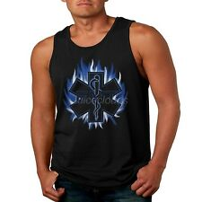 EMT Mens Tank Top Blue Flame EMS Paramedic Fire Rescue