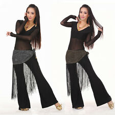 Belly Dance Indian Dance Costume Clothing Set Pant+Top+Tassel Belt Costume 3 pcs