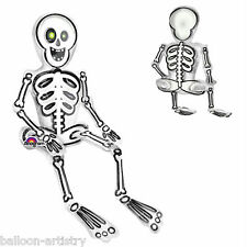 "26"" Haunted Halloween Party Spooky Sitting Skeleton Foil Supershape Balloon"