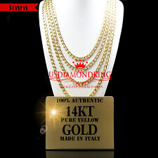 14K AUTHENTIC YELLOW GOLD ITALY CUBAN CURB LINK CHAIN NECKLACE 3MM 18~24 INCH