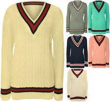 Ladies Knitted V Neck Cable Cricket Jumper Long Sleeve Womens Striped Top