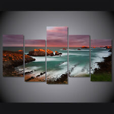 Frame Printed Sunset Beach reef seascape Painting Poster Picture Canvas Wall Art