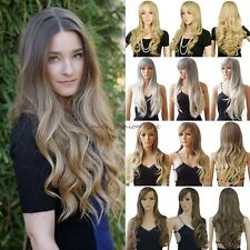 Deluxy Long Curly Straight Full Head Wigs Cosplay Party Daily Fancy Dress Brown