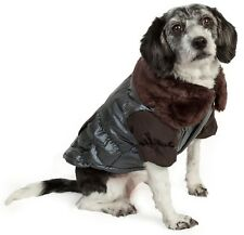 Ultra Fur 'Track-Collared' Metallic Pet Dog Jacket
