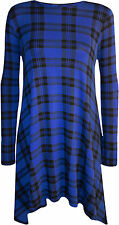Womens Blue Check Tartan Print Long Sleeve Flared Top Ladies Swing Dress