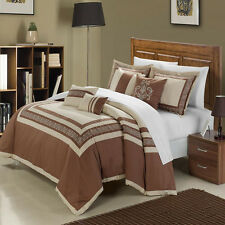 Venice Taupe Beige 7 Piece Embroidered Comforter Bed In A Bag Set