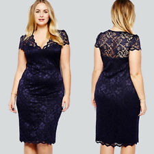 Women Sexy Sheer Lace V-neck Bodycon Cocktail Party Evening Club Pencil Dress